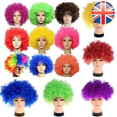 *UK Seller* 7 COLOURS 80's Afro Curly Wig Disco Party Hair Funky Clown Costume