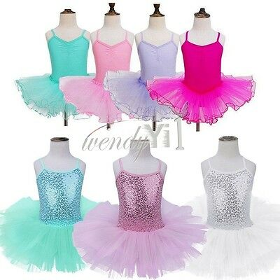 Baby Girls Kids Leotard Dance Dress Costumes Lace Ballet Tutu Skirt Dancewear