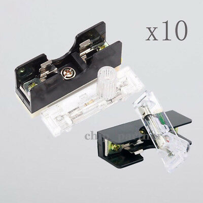 10x FS101 10A Fuse Socket W/ Indicator Light DIN RAIL Mounted Fuse Holder 6*30mm
