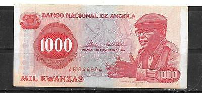 ANGOLA #113a 1976 VF CIRC 1000 KWANZAS BANKNOTE PAPER MONEY CURRENCY BILL NOTE