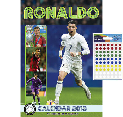 Calendar - Cristiano Ronaldo 2018 Wall Calendar - Includes 70 Dot Stickers