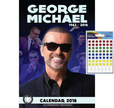 Calendar - George Michael 2018 Wall Calendar - Includes 70 Coloured Dot Stickers