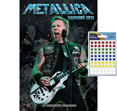 Calendar - Metallica 2018 Wall Calendar - Includes 70 Coloured Dot Stickers
