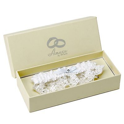 White Lace/Satin Wedding Bridal Garter By Amore With Presentation Box wg358