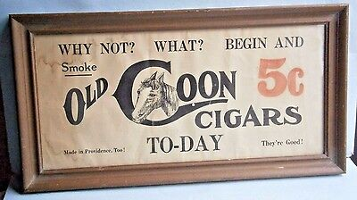 OLD COON CIGARS Paper Advertising Sign from the early 1900's or earlier