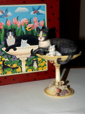 """1999 Lang And Wise Curious Cats """"keeping Watch"""" Cat Figurine 1St Edition Mib"""