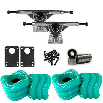 SHARK WHEELS Longboard Package 70mm TURQUOISE 180MM RAW Trucks with Bearings