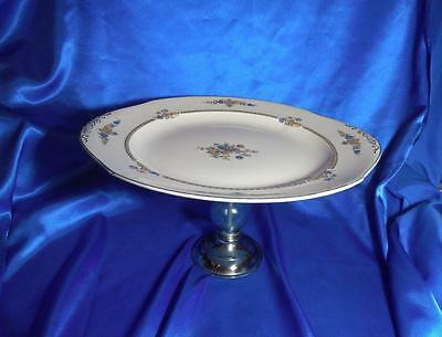 RARE W H Grindley & CO Chelsea Ivory Pattern Porcelain Pedestal Cake Plate Stand