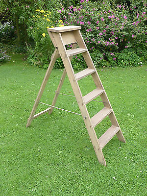 Vintage Pine Step Ladders. Original condition.  Strong + Sturdy