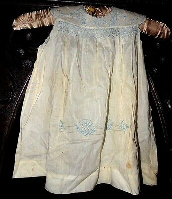 Antique Lovely White Blue Embroidered Hand Made Cotton Infant (or doll) Dress