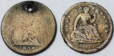 Lot of 2 1836 GB 4 Pence & 1856 Seated Half Dimes - 5 Cents Silver **SCARCE**