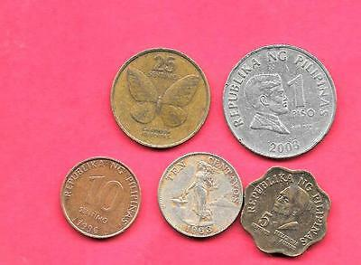 Philippines 5 Diff Different 1963-1996 Coin Lot Collection Set Inc Old & Large
