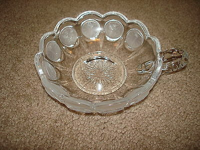 Vintage Fostoria Coin glass Nappy with Handle Crystal
