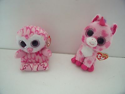 Ty Beanie Boos   Sugar Pie Unicorn And Milly Owl  - New Bundle - Sparkly Eyes