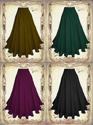Medieval Steampunk Western Long Skirt Ruffles 5 Colors Cotton Country Style