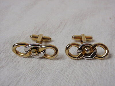 Vintage 1950s Hayward Cufflinks Silver Chain Link Gold Bead Ball Hinged Toggle