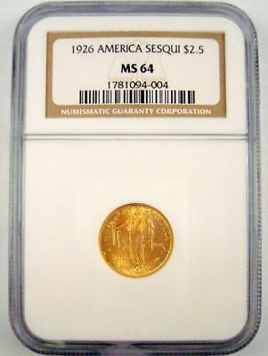 1926 $2.5 American Sesquicentennial Gold Commemorative Dollar Ngc Ms64 #004