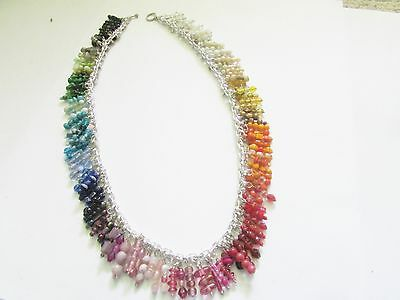 Vintage BEAD Charm NECKLACE-Colors OF The Rainbow- Handcrafted OLD Beads-OOAK! +