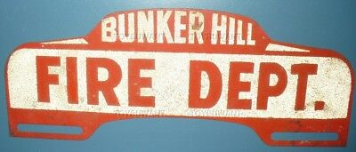 Vintage License Plate Topper Bunker Hill Fire Dept Indiana Grissom Miami County