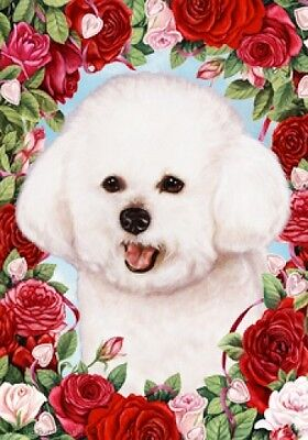 Garden Indoor/Outdoor Roses Flag - Bichon Frise 190371