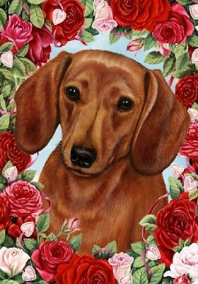 Garden Indoor/Outdoor Roses Flag - Red Dachshund 190391