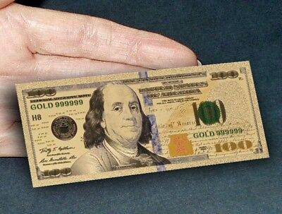 24K Gold Plated $100 Novelty Dollar Bill New Series With Currency Sleeve