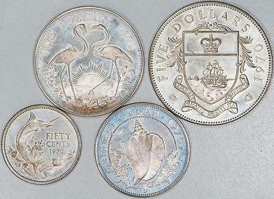 Lot of (4) 1970 Bahama Islands Sterling Silver Coins See Description Item#J469
