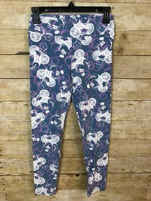 NEW Lularoe Blue & Pink Scribble Minnie Mouse Flower Disney Leggings OS One Size