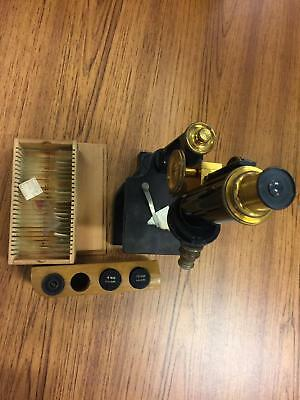 Vintage Bausch & Lomb Microscope With 24 Tissue Slides 4 Lenses