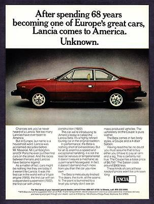 "1976 Lancia Beta Coupe photo ""Comes to America"" vintage promo print ad"