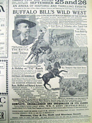 1908 newspaper w large BUFFALO BILL CODY Wild West Show Ad - Highly illustrated