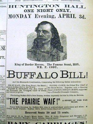 1882 newspaper w rare illustrated BUFFALO BILL CODY Ad before his Wild West Show