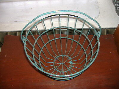Vtg Green Rubber Coated Wire Gathering Basket. Eggs Clams Potatoes Harvest EUC