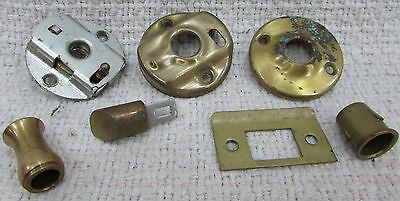 Group of misc vintage brass steel door knob latch lock old parts FREE S/H