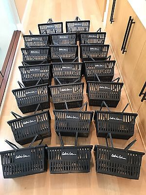 Lot of 20 Stackable Black Plastic Retail Shopping Baskets Standard Size 17x12x9""