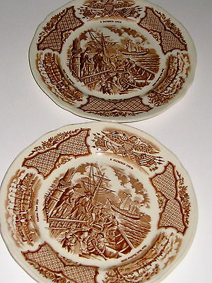 "2  Alfred Meakin Fair Winds B & B  Plates 6 3/4"" Staffordshire England Ship"