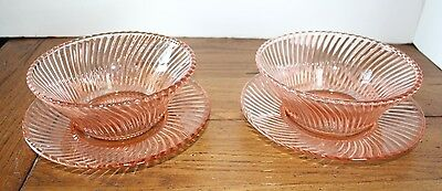 "2 Federal Pink Diana 5"" Cereal Bowls And 2 Matching Saucers"
