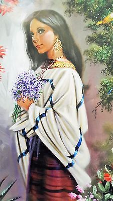 Traditional Mexican Calendar Art beautiful Oaxaca girl Pinacotepa