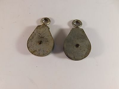 2 Vintage Galvanized Steel Trolley Pulleys, 2 Inches in Diameter - FREE SHIPPING