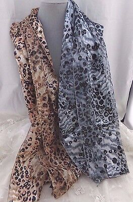 Lot of 2 Silky Animal Print Scarfs Fashion New Pretty!