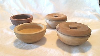Four Old Antique Vintage Wood Bowls Two With Lids