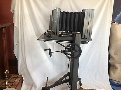 Antique-Ansco 5 X 7 Portrait Camera On Matching Industrial Rolling Stand