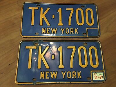Pair 1966-1972 New York License Plates