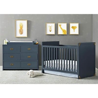 Baby Relax Miles 2-in-1 Convertible Crib, Blue