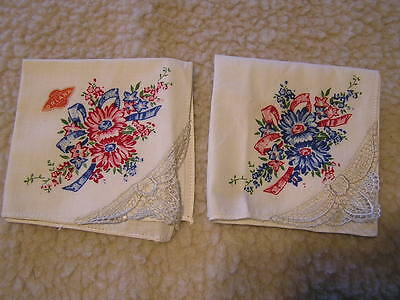 "2 Vintage Handkerchiefs Hankies Hand Painted ? Fast Color Orlana USA 9"" x 9"""