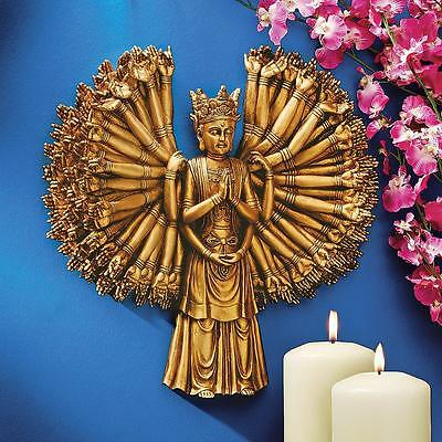 Mystical Entity Asian Antique Gold Buddha Kuan Yin Bodhisattva Wall Sculpture