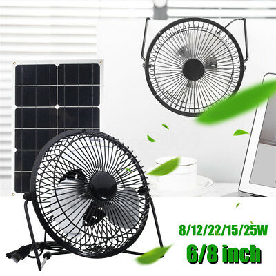 6/8'' 8/12/15/22/25W USB Solar Panel Powered Fan Outdoor Home Cooling Ventilator