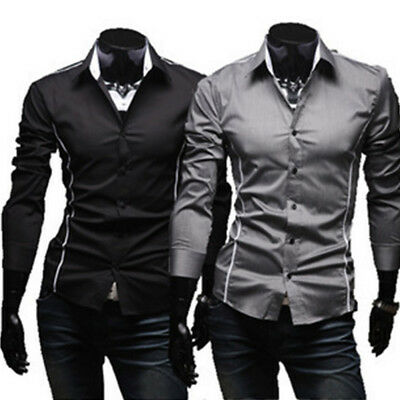Fashion Mens Luxury Stylish Casual Dress Slim Fit Shirt Casual Long Sleeve Top