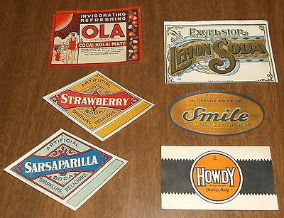 6 Soda Pop Bottle Labels - Howdy Ola Smile Orange Excelsior Lemon Sarsaparilla +