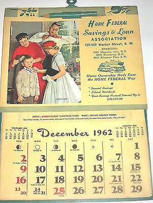 Vintage 1962 Advertising Savings & Loan Wall Calendar Calender Recipes NOS NEW
